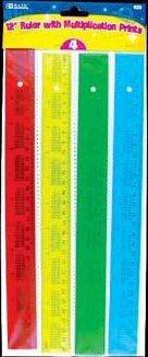 BAZIC 12'' (30cm) Ruler w/ Multiplication Prints Case Pack 288