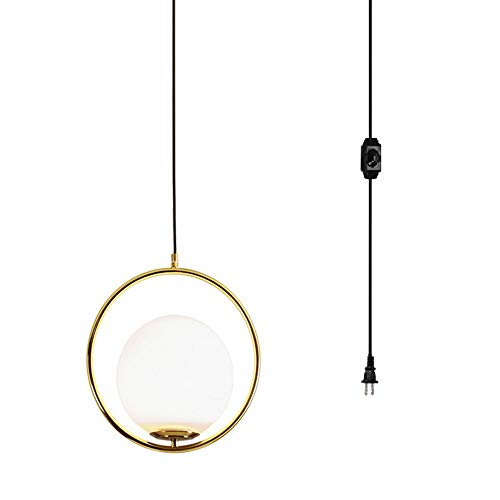 Surpars House Plug in Golden Pendant Light Dimmable Globe Chandelier with 15 ft Cord Dimmer Switch in Line