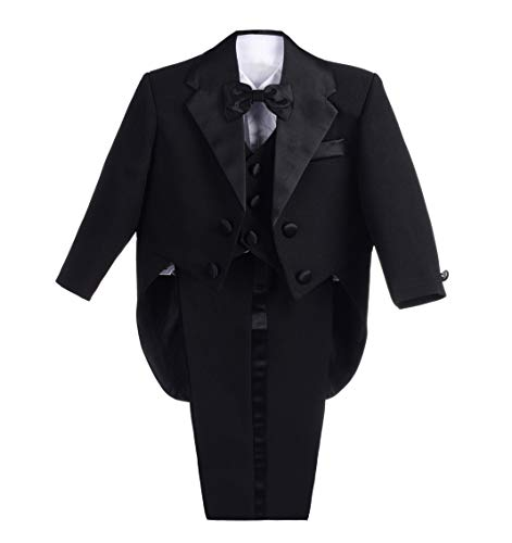 Dressy Daisy Baby-Boys' Classic Tuxedo with Tail 5pc Set Wedding Outfits Size 9 Months Black ()