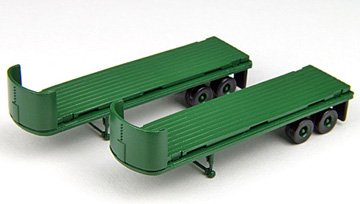 (Classic Metal Works Mini Metals N Scale 32' Flatbed Trailer Green (2 Pieces))