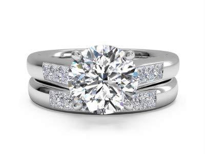 Juego de anillos de boda Moissanite de 1,30 quilates, para mujer ...