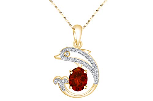 AFFY Oval Simulated Garnet & White Cubic Zirconia Dolphin Pendant Necklace in 14k Yellow Gold Over Sterling Silver