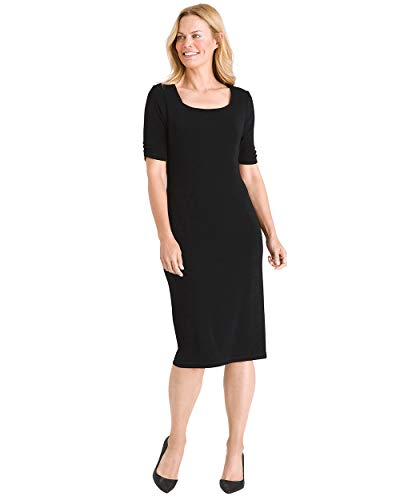 (Chico's Women's Travelers Classic Square-Neck Dress Size 16/18 XL (3) Black)