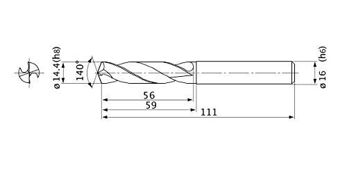 16 mm Shank Dia. Mitsubishi Materials MVE1440X02S160 MVE Series Solid Carbide Drill 14.4 mm Cutting Dia External Coolant 2 mm Hole Depth 2.6 mm Point Length