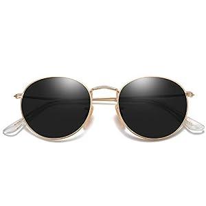 SOJOS Small Round Polarized Sunglasses for Women Men Classic Vintage Retro Frame UV Protection SJ1014