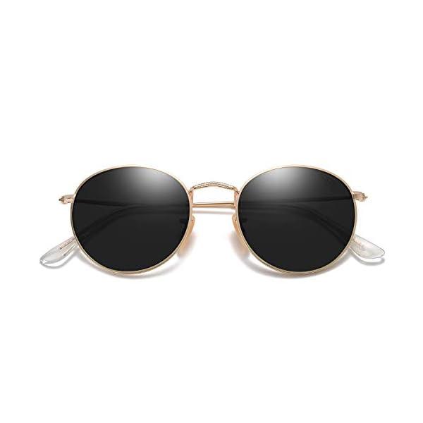 SOJOS Polarized Sunglasses Classic Small Round Metal Frame for Women Men SJ1014