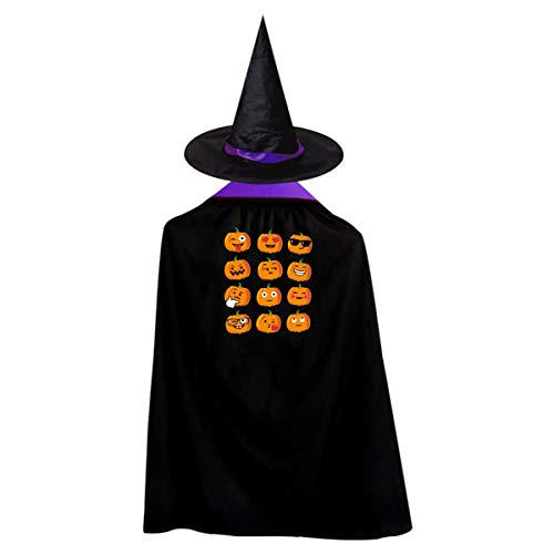 Pumpkin Emoji Kids' Witch Cape With Hat Simple Vampire Cloak For Halloween Cosplay Costume