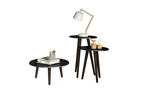 Manhattan Comfort Carmine Collection Mid Century Modern Accent Round End Tables With Splayed Legs, 3 Piece Set, Black/Wood - 3 Piece Set Accent Table