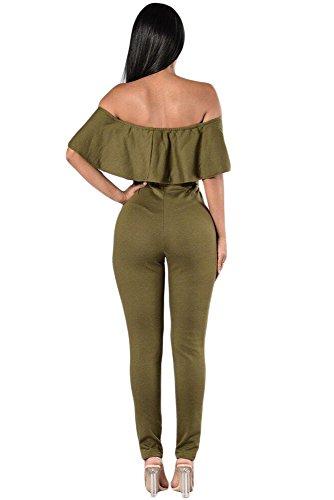 Damen Olive Grün Rüschen Off Schulter Slashed Knie Jumpsuit Catsuit Clubwear Kleidung Größe M UK 10�?2EU 38�?0