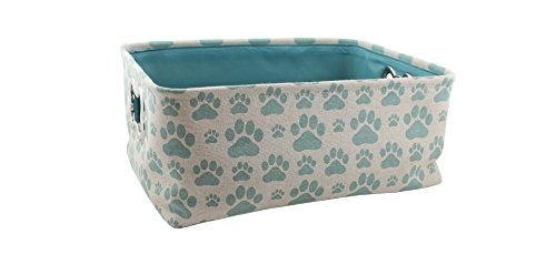 """Winifred & Lily Pet Toy and Accessory Storage Bin, Organizer Storage Basket for Pet Toys, Blankets, Leashes and Food in printed """"Dog Paws"""", Beige / Teal"""