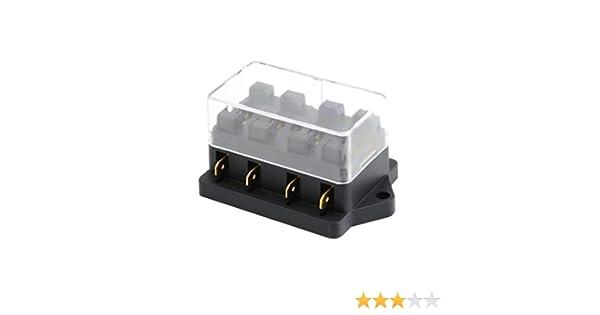 Caja de fusibles de 4 v/ías CC 12V 24V Circuito de CC de 32V M/áx Traves/ía Auto Caja de fusibles Portafusibles Porta ATC ATO Cable de 2 entradas 4 Salidas Salida Color: Negro