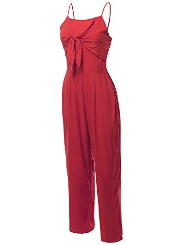 Sexy Tube Top Self Tie Knot Front Romper Jumpsuit Red L