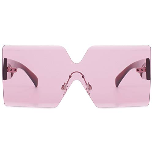 Oversized Square Sunglasses for Women Rimless Frame Candy Color Transparent Glasses(Pink)