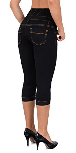 pour Pantalon J353 Jean Grande Taille Haute Capri Taille Pantacourt Femmes J355 dechir tex Jeans by noir Femme Sqxvw1W0