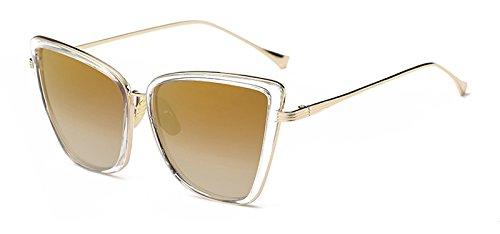 de C6 Sol Gafas Ojo Gato Gafas Sunglasses de Ventanas C3 Cat reflejadas UV400 Mujeres en de TL Metal de RvTqpwp