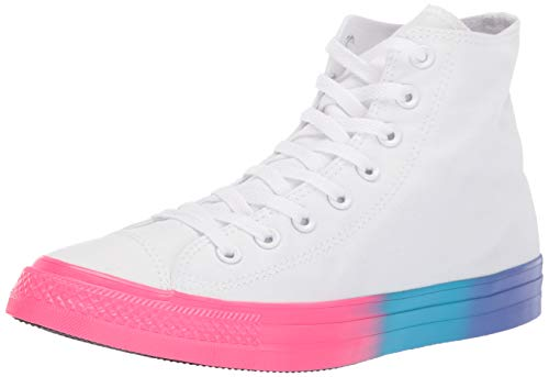 Converse Kids' Chuck Taylor All Star Rainbow Midsole High Top Sneaker, White/Racer Pink/Gnarly Blue, 4.5 M ()
