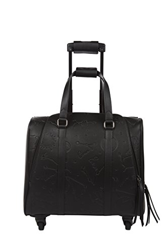 Hang Accessories Women's Embossed Vegan Leather 360-Wheeled Rolling Carry-On 15