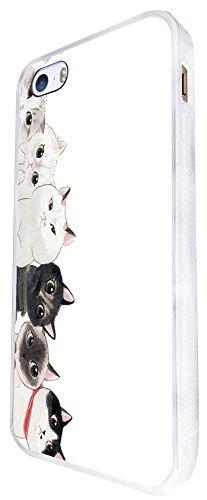 1166 - Cute Multi Cats Faces Fun Design iphone SE - 2016 Coque Fashion Trend Case Coque Protection Cover plastique et métal - Blanc
