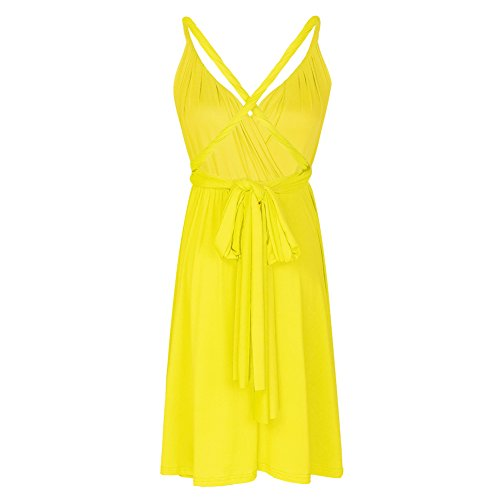 Wrap Gown Infinity Evening Transformer Solid Short Women's Convertible Cocktail Multi Way FYMNSI Dress Homecoming Yellow YxfwXv1qaY