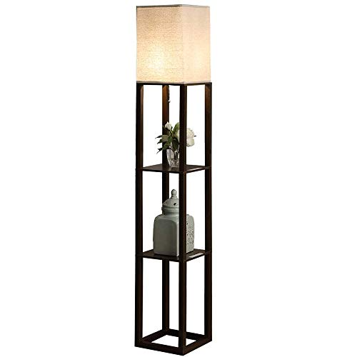 QIANGUANG Indoor Lighting 1.6m Wood Floor Lamp with Shelves for Bedroom&Living Room (no Bulb) (Black USB)