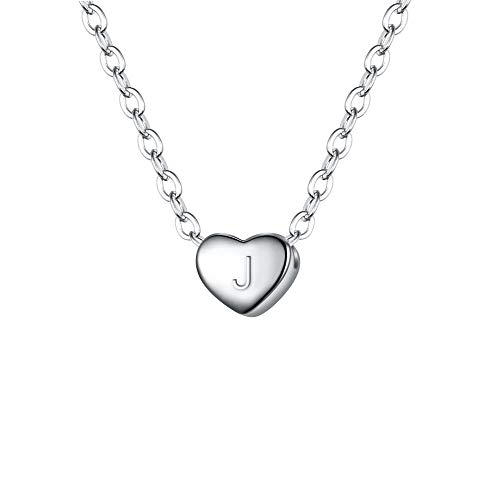 (BriLove 925 Sterling Silver Tiny Initial Heart Necklace for Women Pendant Choker Necklace for Girls Letter J )