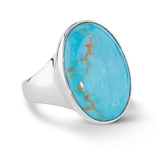.925 Sterling Silver Blue Kingman Turquoise Bold Oval Ring - Size 07