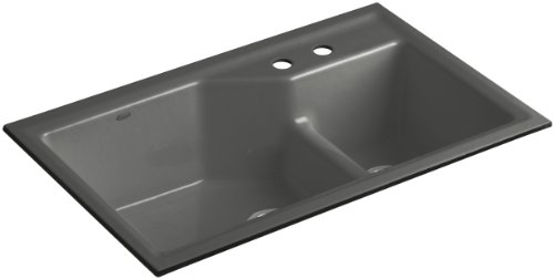 Kohler K-6411-2-58 Indio Undercounter Double Offset Basin Kitchen Sink with Two-Hole Faucet Drilling, Thunder Grey
