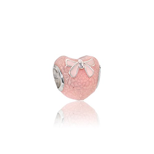 Pandora Sterling Silver Pink Bow & Lace Heart Charm 792044ENMX ()