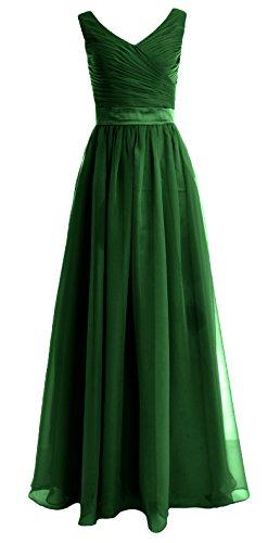 Dress Bridesmaid Straps Dunkelgrun MACloth Long Party V Chiffon Gown Women Neck Wedding q110wHB