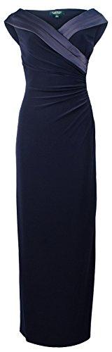 Trim Jersey Gown (Lauren Ralph Lauren Women's Satin-Trim Ruched Jersey Gown Dress-LN-10)