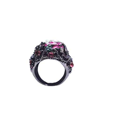 (TIFENNY Women Ring Fashion Trend Rose with Diamond Red Zircon Pierced Ladies Vintage Black Ring Jewelry)