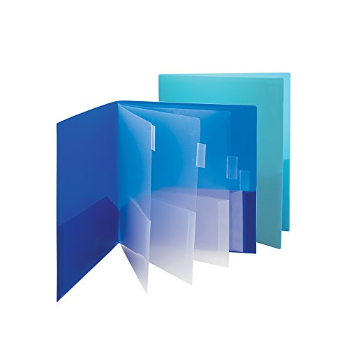 Smead Poly Ten-Pocket Folders, Letter Size,  2 Pack, 1 Each Royal Blue and Teal (89204)