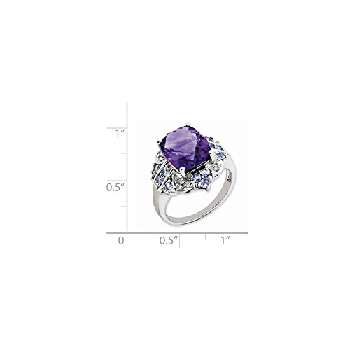 ICE CARATS 925 Sterling Silver Purple Amethyst Blue Tanzanite Diamond Band Ring Size 6.00 Stone Gemstone Fine Jewelry Gift Set For Women Heart by ICE CARATS (Image #5)