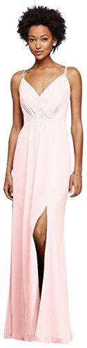 Petal Pink Strap Dress (David's Bridal Long Bridesmaid Dress With Beaded Straps Style F19281, Petal, 6)