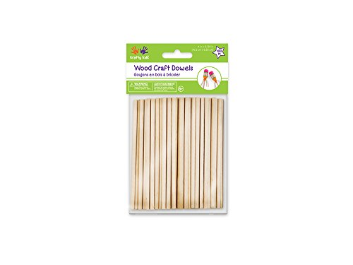 Multicraft Imports Krafty Kids 344861 CW536 Craftwood Natural Dowel, 0.13in by 4in, 100-Piece ()