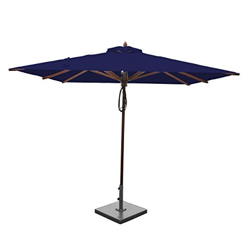 Greencorner Mahogany Square Patio Umbrella 8 Foot, Ocean Blue