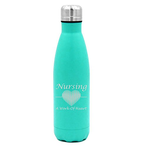 17 oz. Double Wall Vacuum Insulated Stainless Steel Water Bottle Travel Mug Cup Nursing A Work Of Heart Nurse (Light-Blue)
