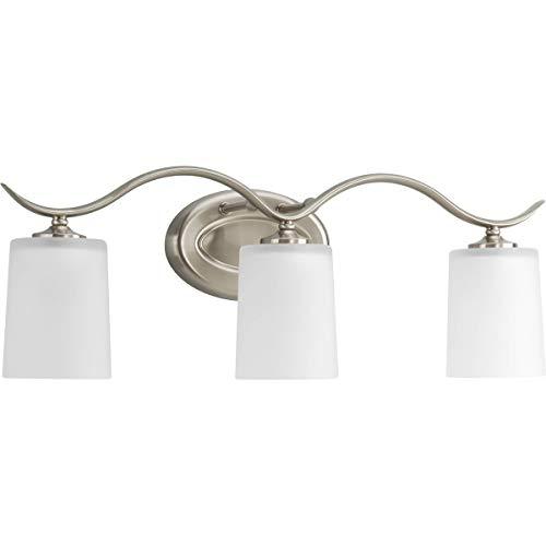 Progress Lighting P2020-09 3-100W MED Bath Bracket, Brushed - Bathroom Mirrors Vanity Lighting Oval