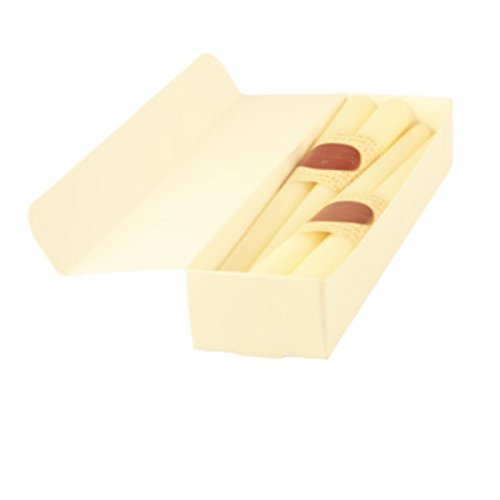 12' Dinner Candles - Honey Candles Pure Beeswax 12'' Taper - Pearl- Set of 8, 8 Piece