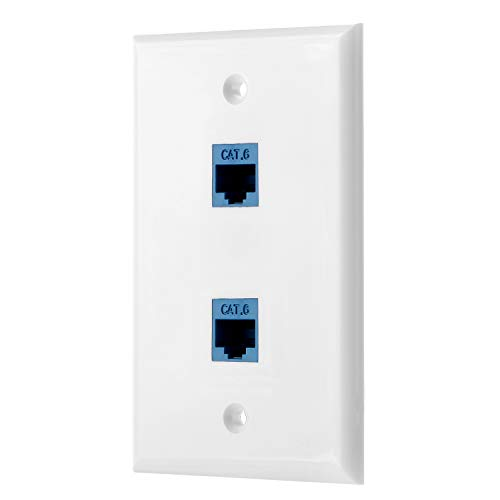 Sancable - Ethernet Wall Plate, 2 Port Cat6 Keystone Female to Female - White - Network Two Port