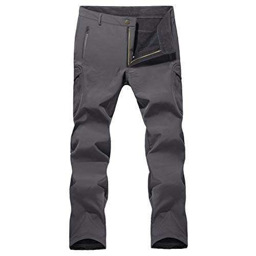 MAGCOMSEN Snowboard Pants Men Warm Pants Tactical Pants Camping Pants Skiing Pants Softshell Pants Waterproof Pants Mens Gray