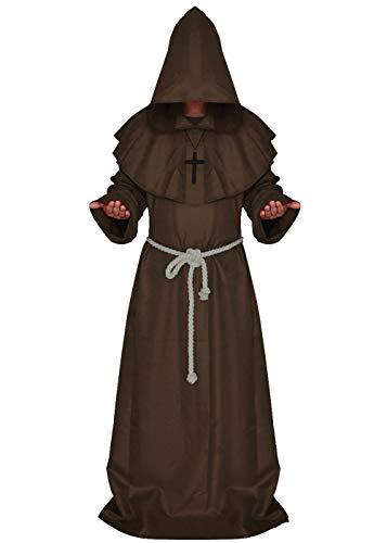 ALIZIWAY Friar Medieval Monk Priest Hooded Robe Renaissance Cloak Halloween Cosplay Costume Y052CS Brown