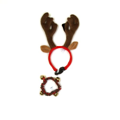 Outward Hound Kyjen  30029 Holiday Bell Collar and Antler Combo Pack Wearable Christmas Accessories For Dogs, Medium, Red