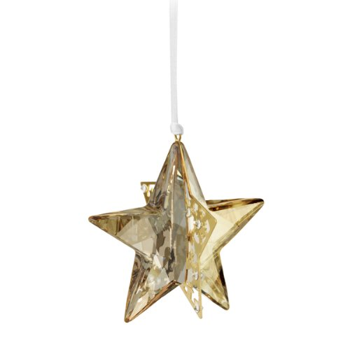 Swarovski Gold Ribbon - Swarovski Crystal Golden Shadow Christmas Ornament Star