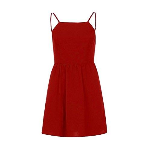 girocollo Red Abbigliamento Backless economici Sling Elegante casual abito Slim maniche Fluffy Simple Skirt donna senza Colour Pure serali Abiti Feste Adeshop f8q4p