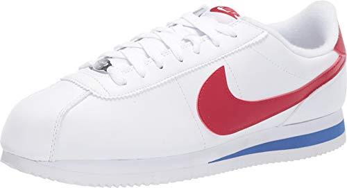 Nike Men's Cortez Basic Leather Casual Sneakers (8.5, White/Varsity RED-Varsity)