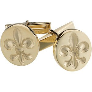 10k Yellow Gold Cufflinks (Metal Fashion 10k Yellow Gold Fleur-de-Lis Cuff Links Pair)