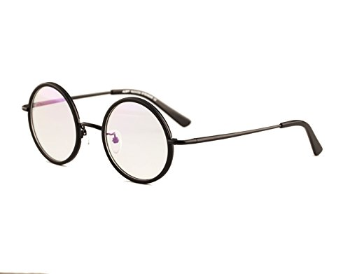 Agstum Vintage Retro Small Round Prescription Optical Eyeglass Frame 43mm (All black, 43mm)