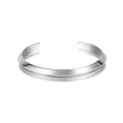 Carleen Bermuda 925 Sterling Silver Unisex Open Cuff Bangle Bracelet Simple Minimalist for Men Women; Adjustable As Needed ()