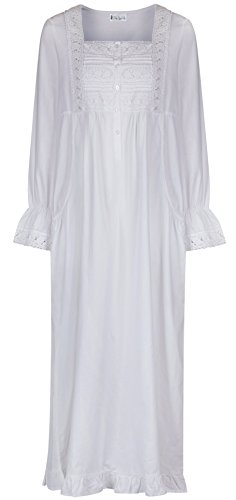 The 1 for U 100 Percent Cotton Nightgown With Pockets - Isabella White (Medium)